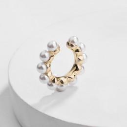 Czeski imitacje pereł Ear Cuff dla kobiet dziewczyna Trendy okrągłe małe klipsy bez przekłuwania uszu złoty Metal biżuteria ślub