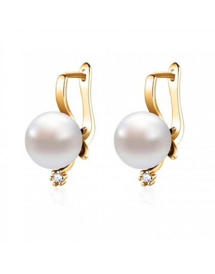 MAIKALE nowy modny sześcienne kolczyki z cyrkoniami z perłą Fine Jewelry kolczyki z różowego złota dla kobiet wykwintna biżuteri