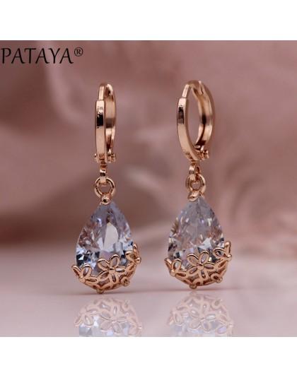 PATAYA nowa biała woda długie zwisające kolczyki 585 różowe złoto wzorzyste asymetria śliczne Dangle kolczyki kobiety biżuteria