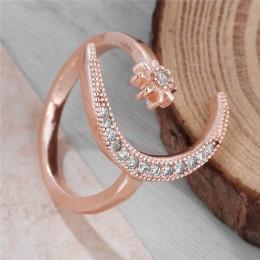 Moda pierścień księżyc gwiazda otwarty palec regulowane pierścienie kobiety strasy dla dziewczynek kryształ biżuteria panny młod