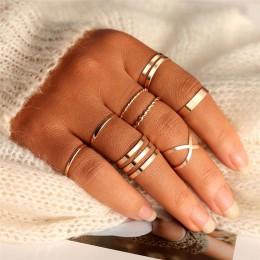 Oryginalny Design złoty srebrny okrągły z dziurką geometryczne zestaw pierścieni dla kobiet moda krzyż Twist otwarty pierścień u