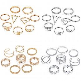 17KM Gold Sliver zestaw pierścieni dla kobiet Vintage kokarda z sercem Twist Ring Finger 2019 Knuckle kobieta biżuteria prezenty