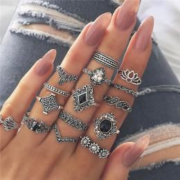 15 sztuk/zestaw kobiety modne pierścionki serca Fatima ręce maryi panny krzyż liść z dziurką geometryczne kryształowe zestaw pie