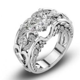 Urok Multicolor 925 srebro księżniczka serce cyrkon obrączki dla kobiet Anel z austriackimi kryształami biżuteria najwyższej jak