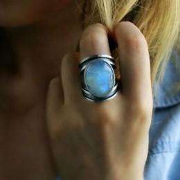 S925 tybetański srebrny moda biżuteria Femme naturalny kamień księżycowy spersonalizowane pierścienie dla kobiet Bijoux biżuteri