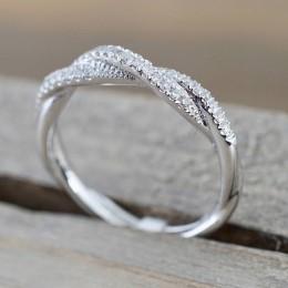 IPARAM wzór skręcona lina pierścionek z kwiatem konopi poszycia różowe złoto srebro mikro cyrkonia pierścionek z ogonkiem moda d