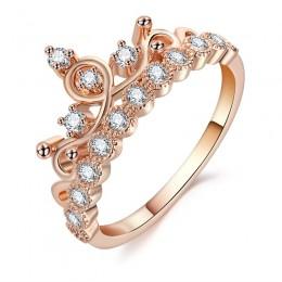 Moda luksusowy wisior z koroną pierścionek oświadczenie kobiety ślub cyrkon pierścionek zaręczynowy Trend geometryczny złoty kol