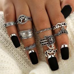 Tocona 9 sztuk/zestaw Boho Midi Finger zestaw pierścieni dla kobiet Punk słoń kwiat drążą Sliver Knuckle pierścionki biżuteria p
