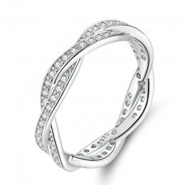 Bamoer 8 STYLE pleciony PAVE pozostawia moją księżniczkę korona królowej srebrny pierścień Twist Of Fate pierścionek do noszenia