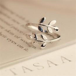 Charms dwa kolory drzewo oliwne gałąź liście otwarty pierścień dla kobiet dziewczyna obrączki regulowany Knuckle biżuteria na pa
