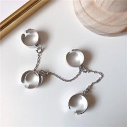 Biżuteria damska wielowarstwowy łańcuszek z pierścieniami na palce ozdobny efektowny modny oryginalny