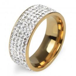 Chanfar 5 wiersze kryształowy pierścień ze stali nierdzewnej kobiety na elegancki pełny palec miłość obrączki ślubne biżuteria m