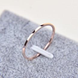 1MM cienka stal tytanowa srebrny kolor para pierścień prosta moda róża złoty pierścionek palec dla kobiet i mężczyzn męskie prez