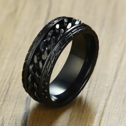 Vnox 8mm fajny czarny pierścień łańcucha Spinner dla mężczyzn tekstury opon ze stali nierdzewnej obrotowe linki Punk mężczyzna A