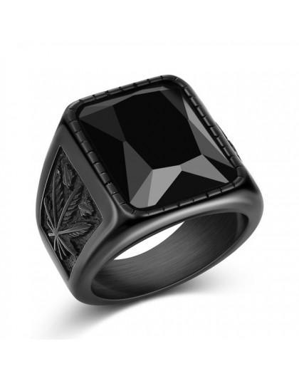 Jiayiqi mężczyźni Hiphop pierścień stal nierdzewna 316L czarny/czerwony kamienny pierścień Rock moda biżuteria męska