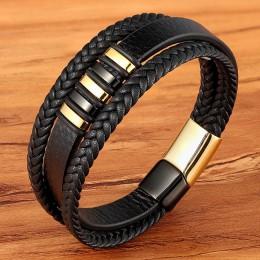 Nowe 3 warstwy czarne złoto Punk Style wzory z prawdziwej skóry bransoletka dla mężczyzn magnes stalowy prezent urodzinowy męski
