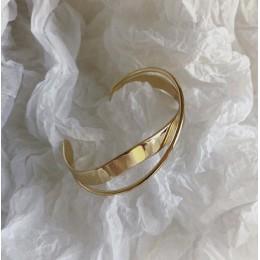 HUANZHI 2019 koreański nowy błyszczący podwójna warstwa geometryczny nieregularny krzyż Ripple bransoletka otwarcia dla kobiet d