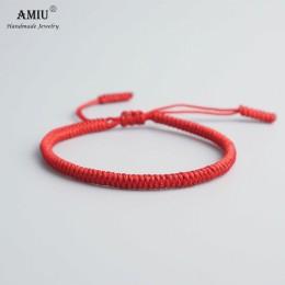 AMIU 25 kolory tybetański buddyjski miłość talizman tybetański bransoletki i Bangles dla kobiet mężczyzn ręcznie węzłów liny Bud