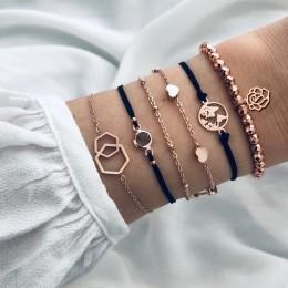 Boho Rose Map bransoletki i Bangles dla kobiet czeski okrągły bransoletka z koralikami zestaw moda wielowarstwowe akcesoria 2019