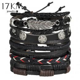 17KM Vintage wiele Charm zestaw bransoletek dla mężczyzn kobieta moda opaski sowa liść bransoletka skórzana bransoletki 2019 Par