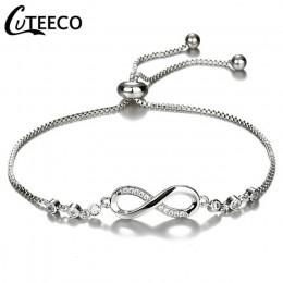 CUTEECO moda europejska bransoletki dla kobiet cyrkonia nieskończoność bransoletka tenisowa Femme biżuteria prezent Dropshipping
