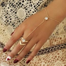 Sindlan złoto duże kryształowe bransoletka pierścionek dla kobiet łańcuch na rękę biżuteria moda ręcznie z powrotem bransoletki