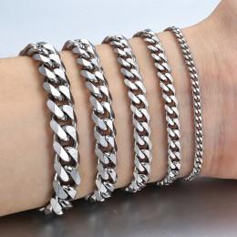 3-11mm męskie bransoletki srebrny kolor stal nierdzewna Curb kubański Link Chain bransoletki mężczyźni kobiety biżuteria hurtowy