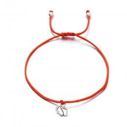 Pipitree piękne podwójne stopy rodzina życzenie bransoletka mama tata dziecko dzieci prezent prosty czerwony sznurek uroku brans
