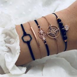 DIEZI czeski czarne koraliki łańcuch bransoletki bransoletki dla kobiet moda serce kompas złoty kolor łańcuch zestawy bransolete
