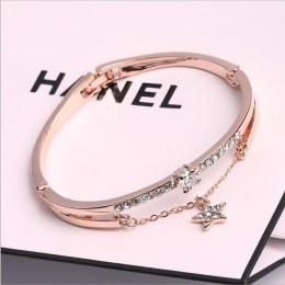 Luksusowe znane marki biżuteria różowe złoto bransoletki ze stali nierdzewnej i bransoletki kobiece serce na zawsze bransoletka