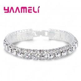 Najlepsza sprzedaż 925 bransoletki ze srebra wysokiej próby pełna AAA cyrkon austriacki kryształ Femme kobiety Link Chain branso