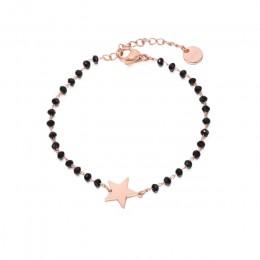 Stal nierdzewna czarny kryształ koraliki łańcuch bransoletka różowe złoto serce gwiazda cztery koniczyny bransoletka Charms dla