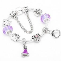 TOGORY autentyczny kolor srebrny Mickey Charm bransoletka z kreskówka Minnie koraliki delikatna bransoletka dla kobiet chłopiec