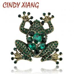 CINDY XIANG Crystal Frog broszki dla kobiet kolor zielony broszka ze zwierzęciem luksusowa biżuteria w stylu Vintage akcesoria d