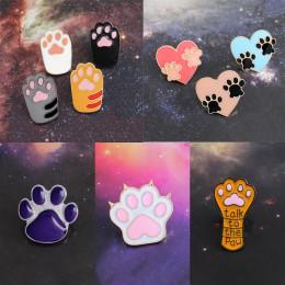 Dog Cat Claw Series broszka Cute Toe Bean Team serce Paw Print porozmawiaj z łapą emalia Pin plecak denim Badge prezenty dla prz
