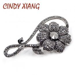 Cindy xiang Rhinestone broszki z czarnym kwiatem dla kobiet w stylu Vintage elegancka duża broszka Pin płaszcz zimowy sweter bro