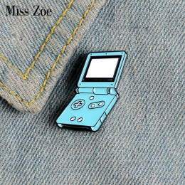 Przenośna konsola do gier emaliowane szpilki niestandardowe broszki przypinka worek na koszulę niebieska gra odznaka biżuteria p