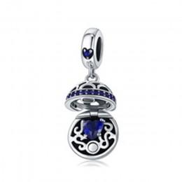 BAMOER autentyczne 925 Sterling srebrne dla zakochanych pudełko Dangle Ball urok wisiorek fit kobiety Charm bransoletka i naszyj