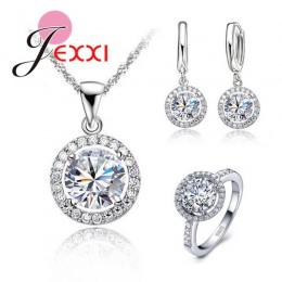 Wykwintne kobiety ślub naszyjnik kolczyk pierścień zestaw biżuterii 925 ze srebra wysokiej próby z cyrkonią zestaw biżuterii kry