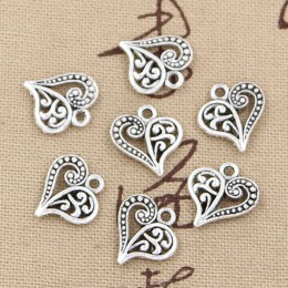 30 sztuk Charms hollow piękne serce 15x14mm handmade Craft tworzenie wisiorów fit, Vintage tybetański brąz kolor srebrny, DIY dl