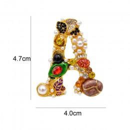 Cindy xiang styl barokowy perła litera z cyrkonią broszka alfabet broszki dla kobiet spersonalizowany projekt A S D M R G dobry