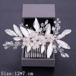 Grzebienie do włosów dla kobiet ślubne akcesoria do włosów Tiara Pearl Rhinestone srebrne ozdoby ślubne na włosy głowa kwiatowa