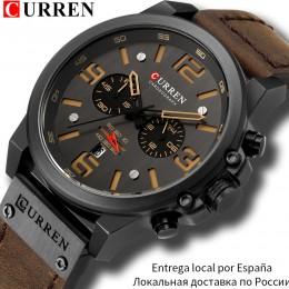 CURREN męskie zegarki Top luksusowa marka wodoodporny zegarek sportowy na rękę chronograf kwarcowy wojskowy skórzany Relogio Mas