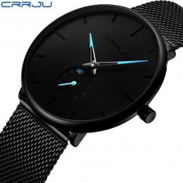 CRRJU mody męskie zegarki Top marka luksusowy zegarek kwarcowy mężczyźni na co dzień Slim, z siatką ze stali nierdzewnej wodoodp