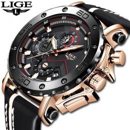 2020LIGE nowe mody mężczyzna zegarki Top marka luksusowe duże Dial wojskowy kwarcowy zegarek skórzany wodoodporny Sport chronogr