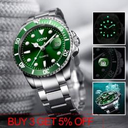 2019 Top marka DOM luksusowy męski zegarek 30m wodoodporny data zegar męskie zegarki sportowe mężczyźni Wrist Watch kwarcowy Rel