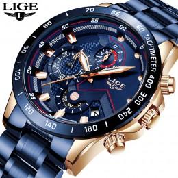 LIGE 2020 nowych moda męskie zegarki ze stali nierdzewnej Top marka luksusowe sport zegarek chronograf kwarcowy mężczyźni Relogi