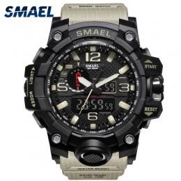 Męski zegarek wojskowy 50m zegarek wodoodporny LED zegarek kwarcowy sportowy zegarek męski relogios masculino 1545 sportowy zega