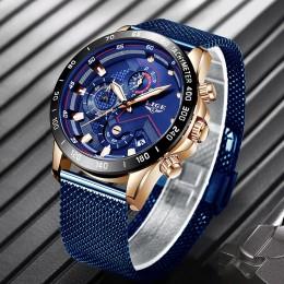 2019 nowy LIGE niebieski swobodna siateczka pas moda złoty zegarek kwarcowy męskie zegarki Top marka luksusowy wodoodporny zegar
