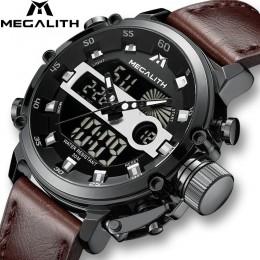 MEGALITH mężczyźni sport zegarek kwarcowy mężczyźni wielofunkcyjny wodoodporny zegarek luminescencyjny mężczyźni podwójny Dispay